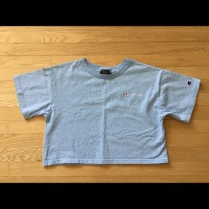 Champion Heather Blue B/F CROP Tee Med